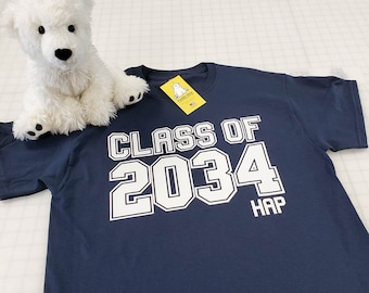 Class of 2034, 2035, 2036 etc... with Personalized Name for kids starting Pre-K or Kindergarten also optional Grades for Handprints on back