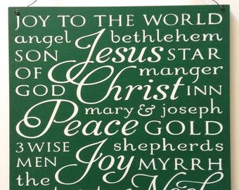 Christmas Word Collage Wood Wall Sign - 12x12 - Green or Red