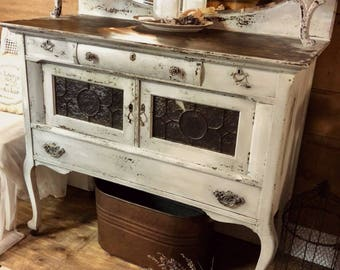 SOLD | Shabby Chic Antique White Painted Sideboard, Distressed Chippy Milk  Painted Sideboard Buffet, Buffet With Mirror, Painted Furniture