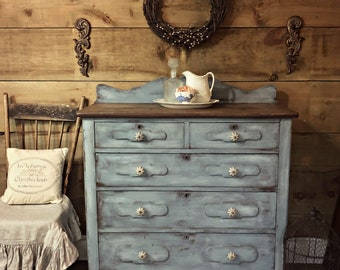 Attirant SOLD | Blue Primitive Shabby Chic Antique Dresser Or Sideboard | Rustic  French Farmhouse Distressed Painted Furniture | Milk Painted Patina