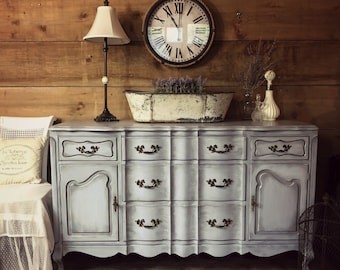 SOLD | Blue   Grey French Provincial Painted Dresser | Shabby Chic Chalk Painted  Furniture | Antique Entryway Dresser | Refinished Furniture