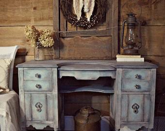 distressed antique furniture. SOLD | Shabby Chic Blue \u0026 Grey Gustavian Antique Vanity Desk  Dressing Table On Castors Painted Distressed Furniture
