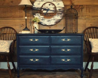 Attirant Navy Blue U0026 Teal Antique French Provincial Dresser, Shabby Chic Painted  Gustavian Dresser, Painted Furniture, Change Table Dresser, Entryway