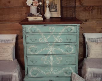 SOLD | Aqua/turquoise Blue Antique Shabby Chic Distressed Tall Boy Dresser  U0026 Cream Hand Painting, Chalk Painted Furniture, Upcycled Dresser