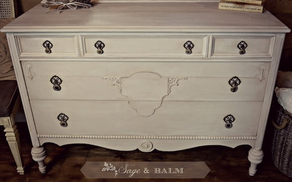 Sold Cream Grey Gustavian Painted Antique Dresser Shabby Etsy