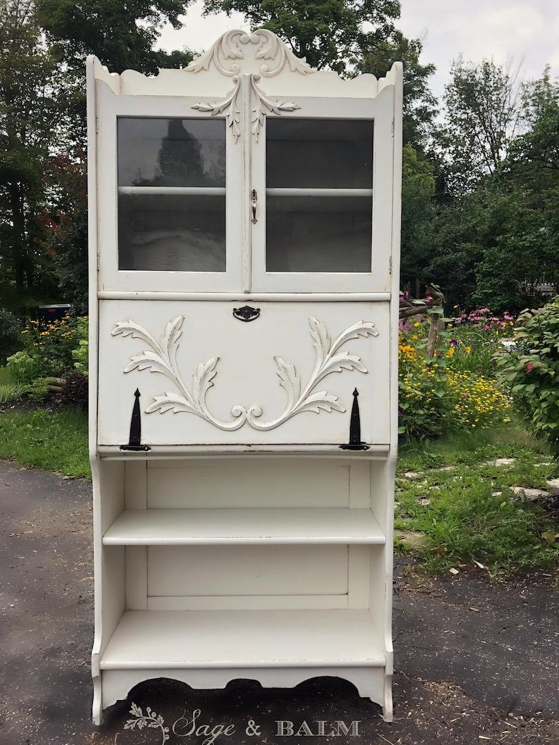 Shabby Chic White Grey Antique Secretary Desk With Bookshelf Etsy