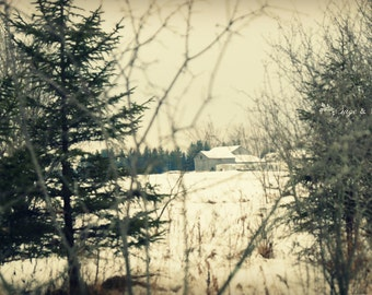 Barn photography, travel photography, architecture print, nature photography, Canadian landscape, dreamy winter scene, snowy woodland