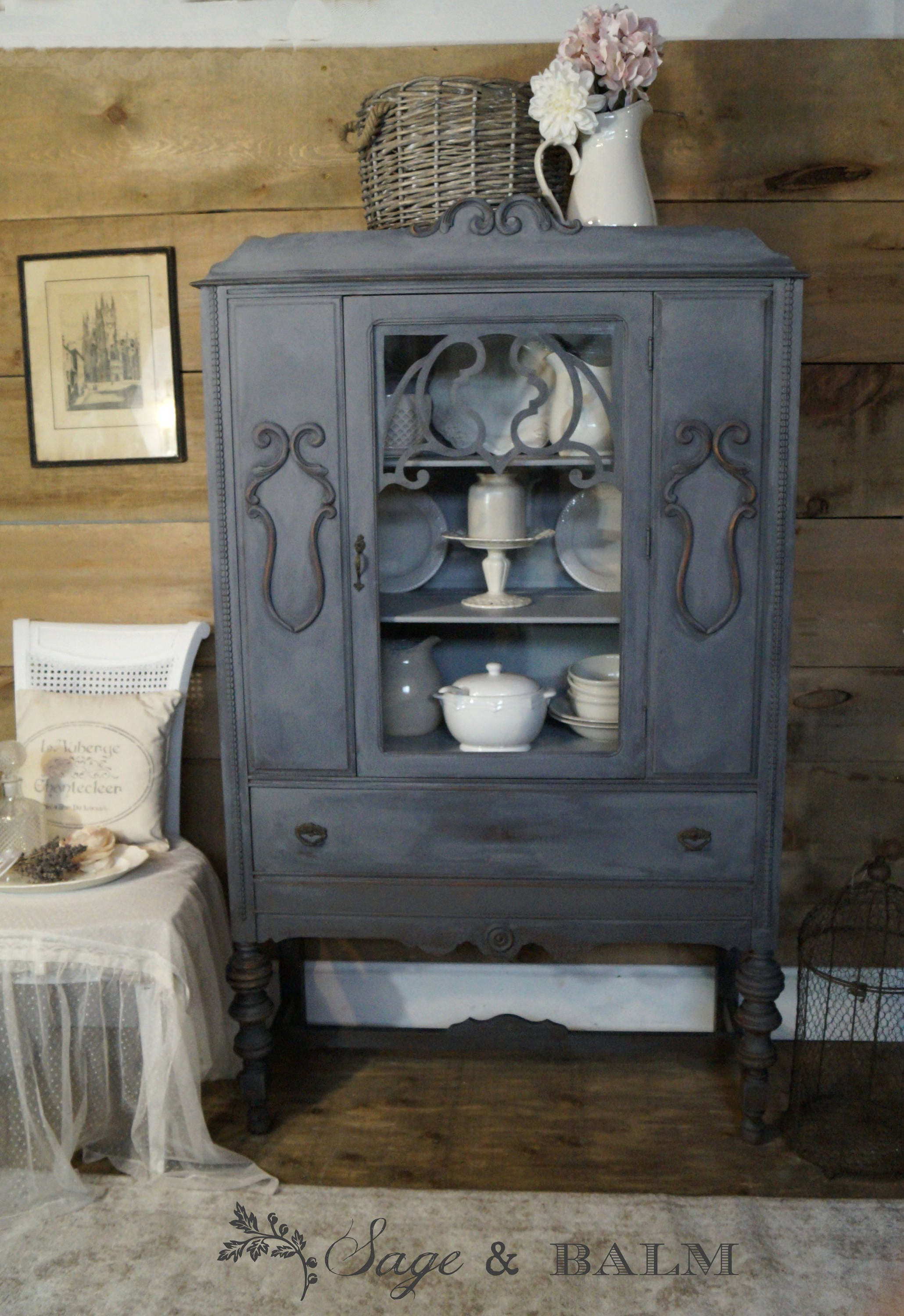grey gustavian shabby chic antique china cabinet hutch etsy. Black Bedroom Furniture Sets. Home Design Ideas