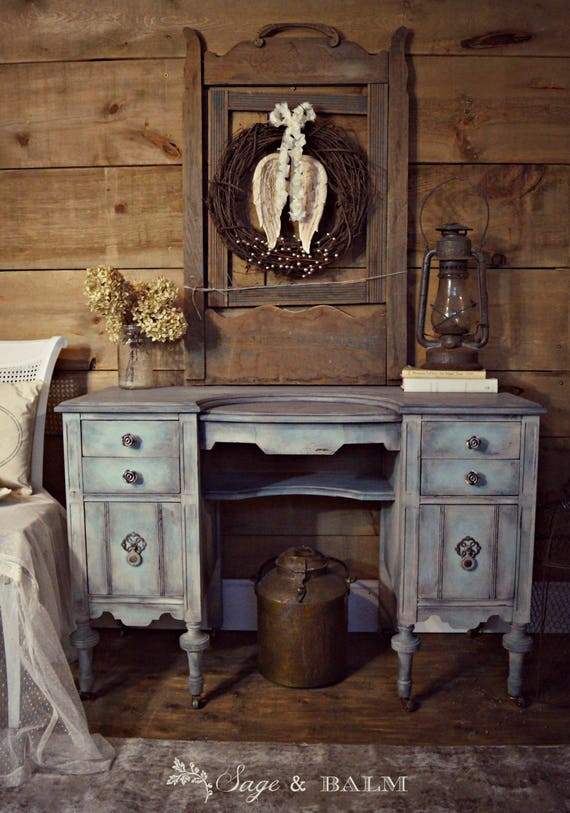 image 0 - SOLD Shabby Chic Blue & Grey Gustavian Antique Vanity Desk Etsy