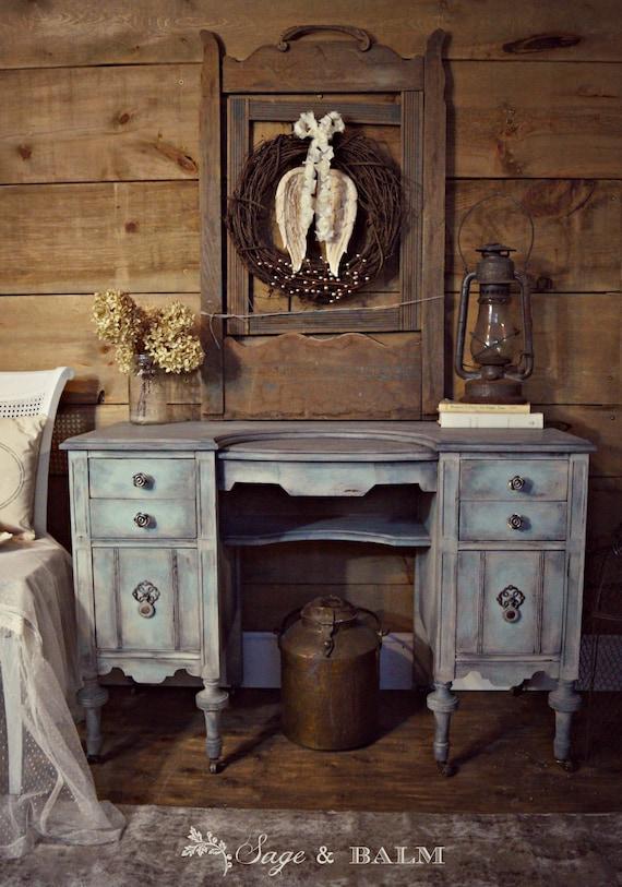 SOLD | Shabby chic blue & grey Gustavian antique vanity desk | blue  dressing table on castors | antique vanity painted distressed furniture