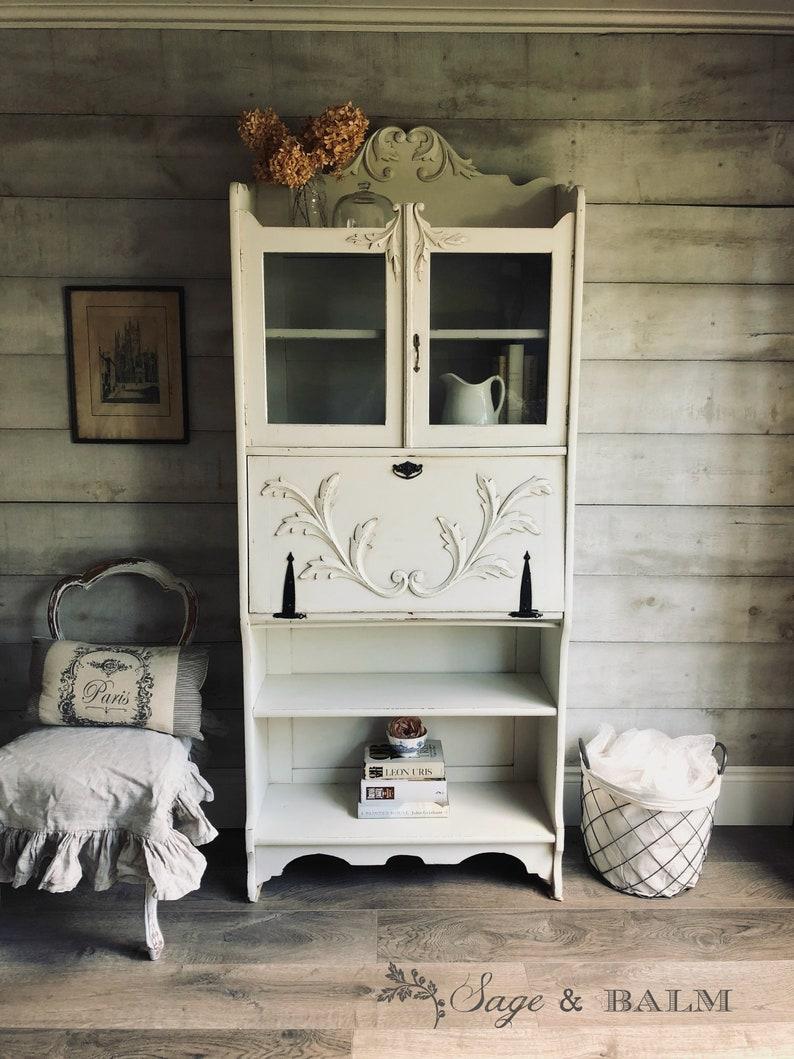 Sold Shabby Chic White Grey Antique Secretary Desk Etsy