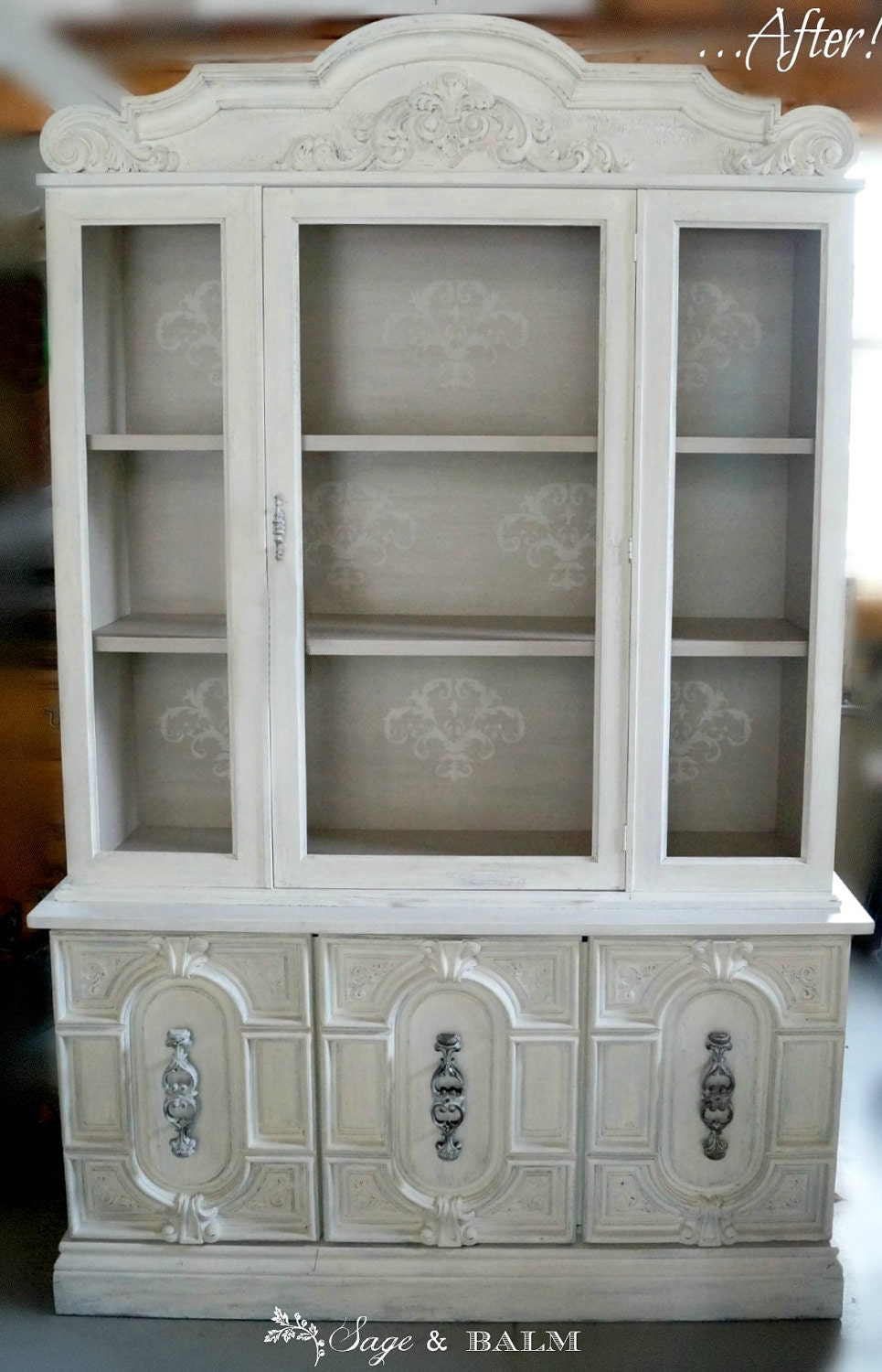 sold antique white shabby chic hutch white china cabinet etsy. Black Bedroom Furniture Sets. Home Design Ideas
