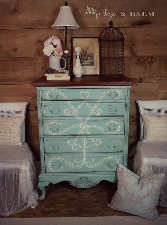 Antique Shabby Chic Distressed Tall, Turquoise Distressed Bedroom Furniture