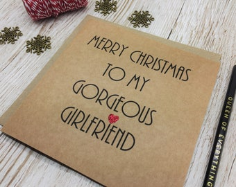 Christmas Card for Girlfriend - Gorgeous Girlfriend Christmas Card - Red Heart Christmas Card - Love Christmas Card for Girlfriend