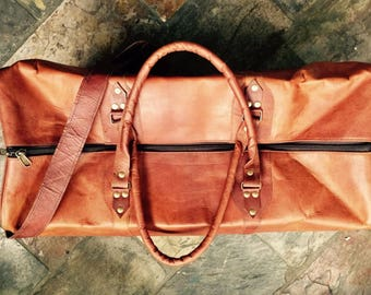 Leather duffel bag, Leather bag, Leather Travel Bag, Leather Luggage, Overnight Bag
