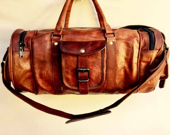 Small Leather Bag, Compact Leather Gym Bag with Round Ends, Tube Style Leather Travel Bag, Compact bag, Luggage, Carry on
