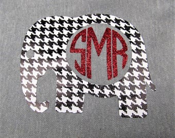 DIY Iron On Black   White Vinyl Houndstooth Alabama Elephant Monogram With  Initial Color of Your Choice 418319cda729