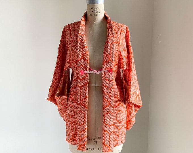 Vintage silk kimono | 1950s kimono | Japanese kimono | Haori | Orange Shibori | Kikkou