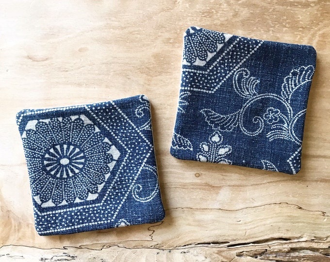 Antique Japanese Indigo Katazome Fabric Coasters (Set of 2)