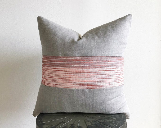 Vintage Japanese Off-white/Terra Cotta Striped Kimono Obi & Gray Linen Pillow Cover (Size: 20x20)