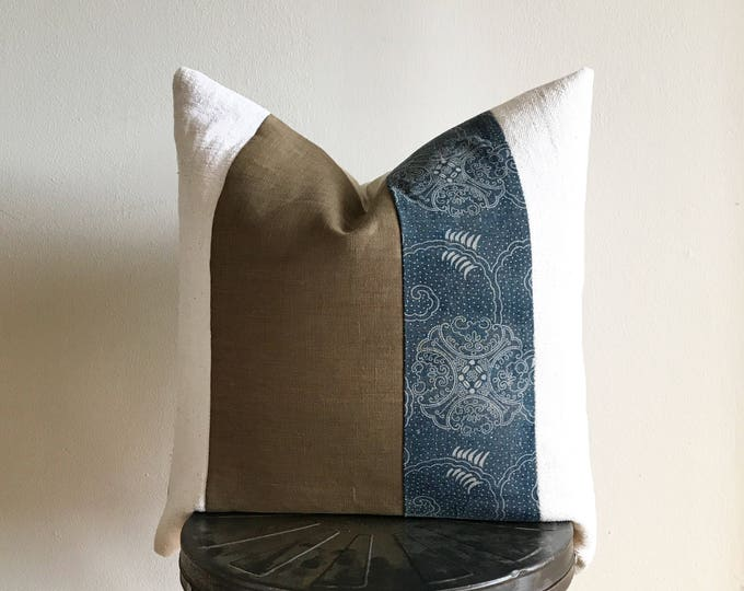Antique Japanese Faded Katazome Indigo, Brown Linen & African Off-white Mudcloth Pillow Cover (Size: 22x22)