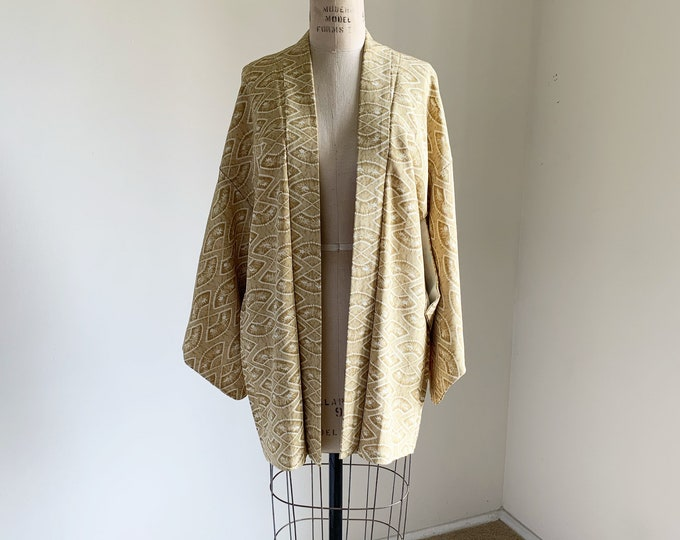 Vintage 1950s Japanese silk Haori | Dark yellow | Fan