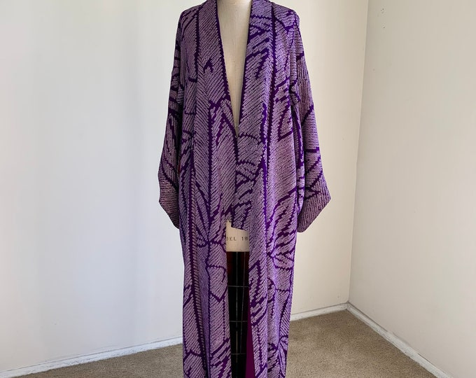 Antique 1920s Japanese silk kimono | Purple Shibori | Bamboo