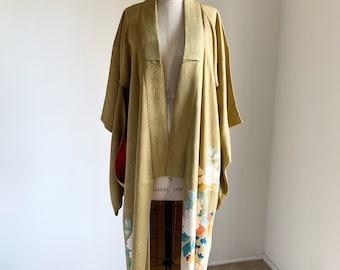 4948d30bc Antique silk kimono | 1920s kimono | Japanese kimono | Lime Irotomesode