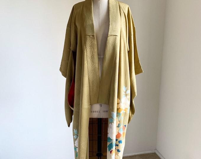 Antique silk kimono | 1920s kimono | Japanese kimono | Lime Irotomesode