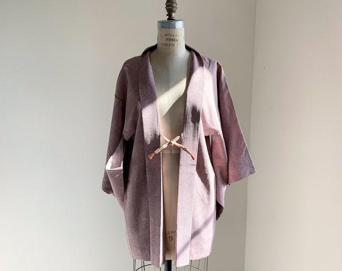 Vintage silk kimono | 1950s kimono | Japanese kimono | Haori | Dark grayish pink | Flowing water