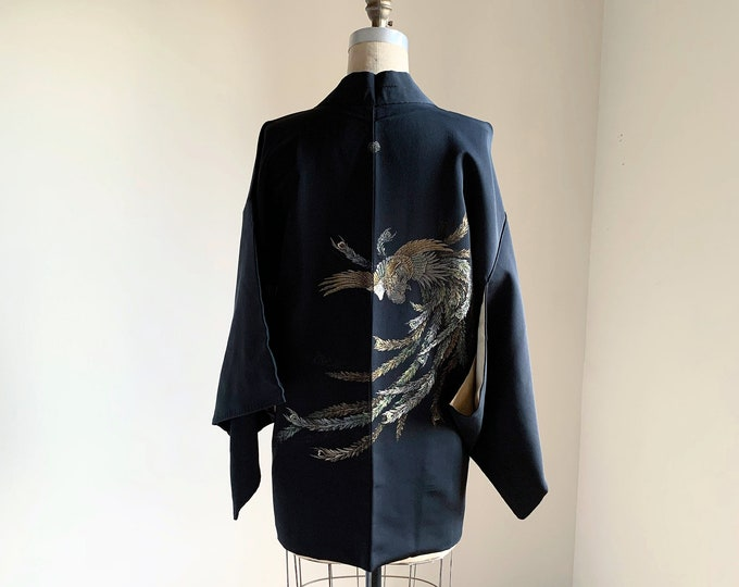 Vintage silk kimono | 1950s kimono | Japanese kimono | Haori | Black | Bird