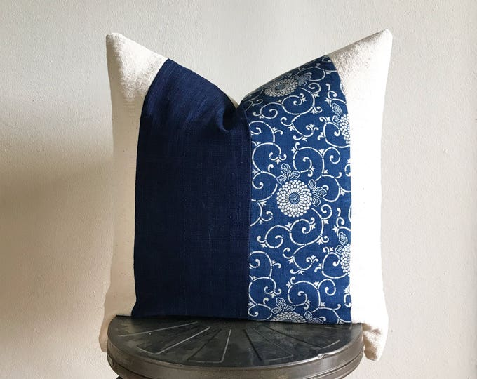 Antique Japanese Indigo Katazome, Vintage African Indigo & Off-white Mudcloth Pillow Cover (Size: 22x22)