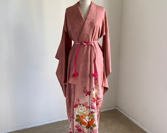 Antique 1920s Japanese silk Irotomesode kimono | Dusty rose