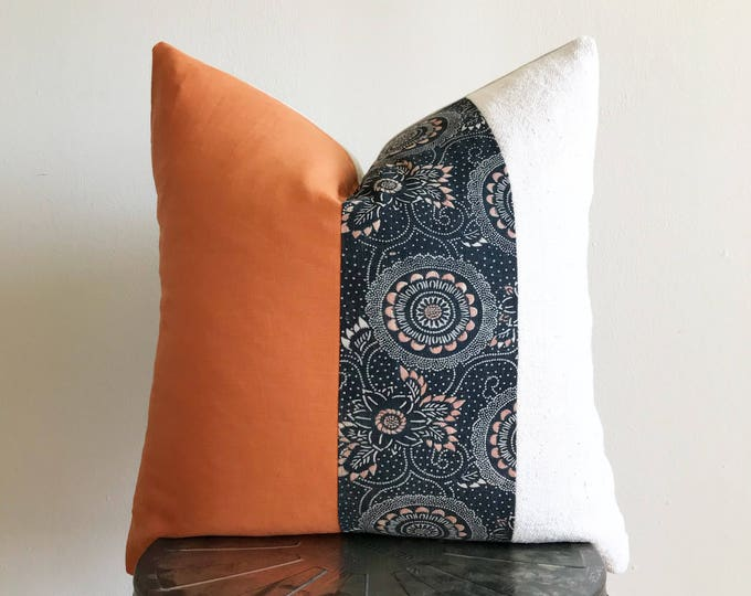 Antique Japanese Indigo Color-Katazome, Orange Linen & African Off-white Mudcloth Pillow Cover (Size: 20x20)