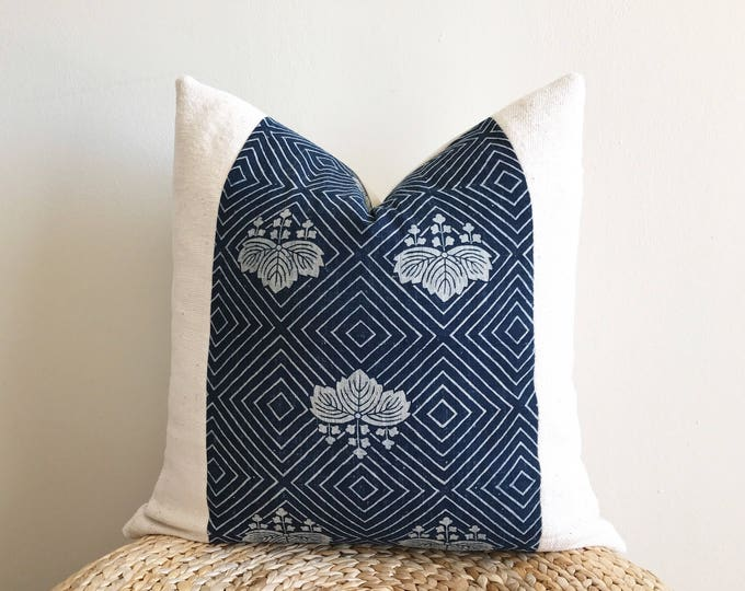 Rare antique Japanese indigo Katazome & African off-white mudcloth pillow cover (Size: 20x20)