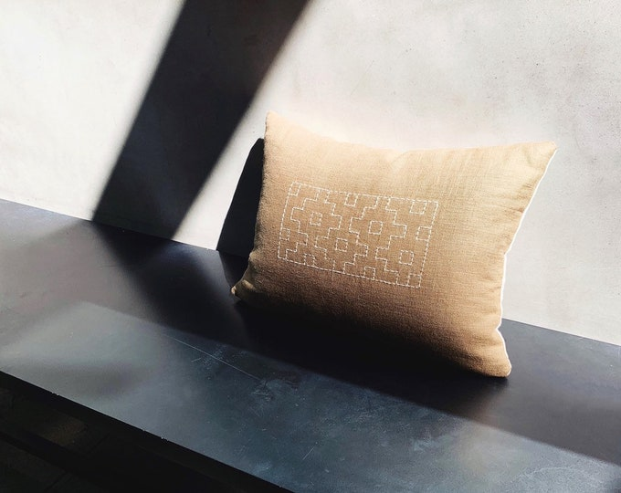 Brown linen with ivory sashiko pillow cover | Size: 11x15