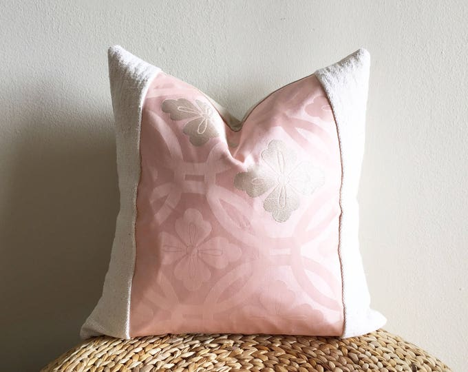 Vintage Japanese Pink Silk Kimono Obi & African Off-white Mudcloth Pillow Cover (Size: 18x18)
