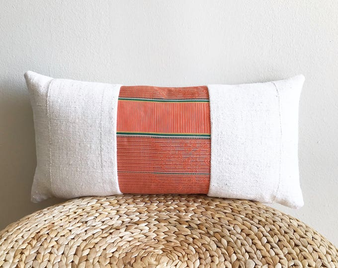 Vintage Japanese Coral Pink/Green Silk Kimono Obi & African Off-white Mudcloth Lumbar Pillow Cover (Size: 11x22)