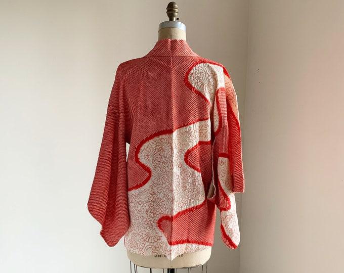 Vintage silk kimono | 1950s kimono | Japanese kimono | Haori | Red Shibori