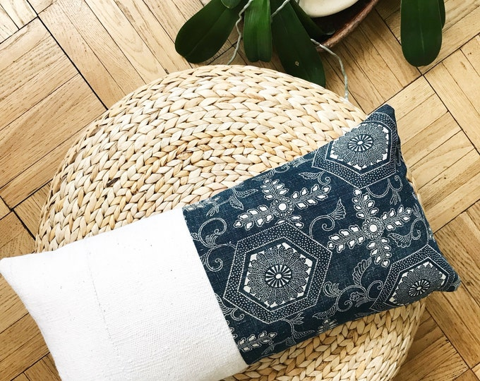 Antique Japanese Indigo Katazome & African Off-white Mudcloth Lumbar Pillow Cover (Size: 11x22)