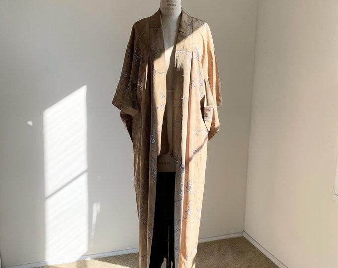 Antique silk kimono | 1920s kimono | Japanese kimono | Tan | Stripes & Floral