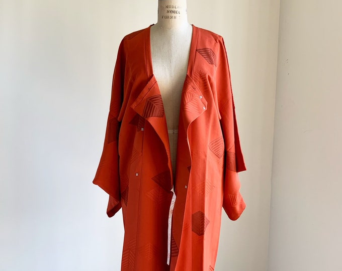 Vintage 1950s Japanese silk Michiyuki | Dark orange