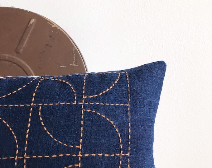 Vintage Japanese Indigo w/ Sashiko (Hand Stitching) Lumbar Pillow Cover (Size: 11x22)