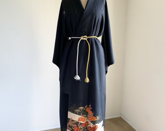 Vintage silk kimono | 1950s kimono | Japanese kimono | Black Kurotomesode | Plum blossom