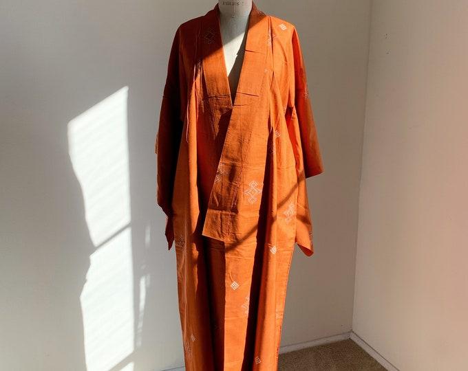 Antique silk kimono | 1920s kimono | Japanese kimono | Dark orange