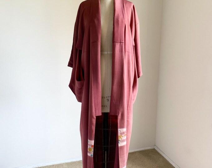 Antique silk kimono | 1920s kimono | Japanese kimono | Burgundy Irotomesode