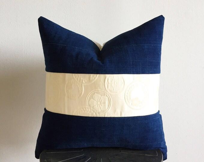 Vintage Japanese Cream Silk Kimono Obi & Vintage African Indigo Pillow Cover (Size: 20x20)