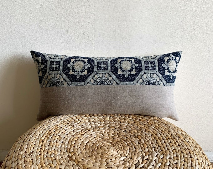 Rare Antique Japanese Indigo Color-Katazome & Gray Linen Lumbar Pillow Cover (Size: 11x22)