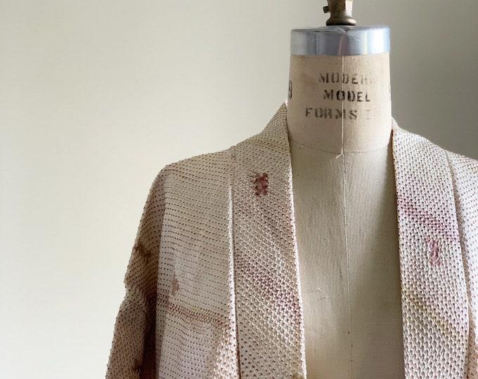 Vintage silk kimono | 1950s kimono | Japanese kimono | Haori | Cream Shibori