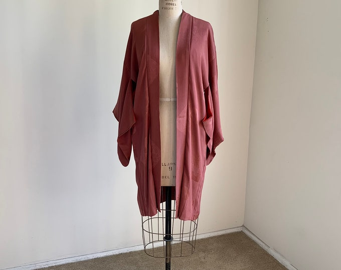 Antique 1920s Japanese silk Haori | Dusty rose pink